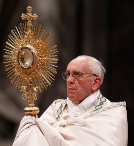 Pope Francis adoring The Eucharistic Face of Christ