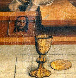 "Face of Jesus on veil by Michael Wolgemut, teacher of Albrecht Durer. The ""Veil of Veronica"" in artwork before 1the early 1500's resemble the ""Il Volto Santo"" of Manoppello."