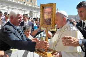 Pope Francis with a Beautiful replica of the Holy Face of Manoppello