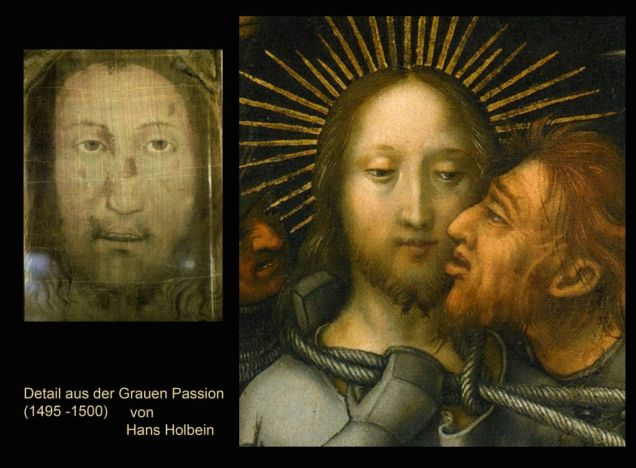 Left: The Holy Face of Manoppello / Right: Painting by Hans Holbein