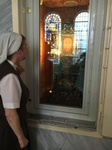 Sr. Petra-Maria gazes at the Veil of Manoppello