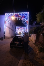 Lighted streets in Manoppello ready for the feast day