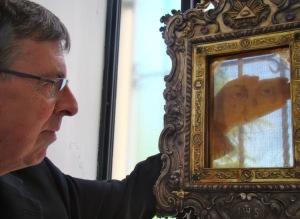 Kurt Cardinal Koch contemplates the Holy Veil of Manoppello Photo: Paul Badde