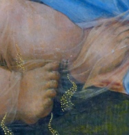 Detail of byssus veil wrapping the babe's tiny feet