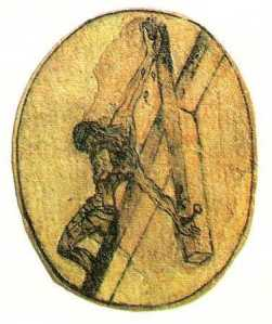 Drawing by St. John of the Cross of his vision of the Crucifixion of Jesus from above.