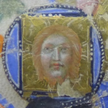 "detail of Face of Jesus on the Holy Veil from the precious manuscript ""Liber Regulae Sancti Spiritus in Saxia"""